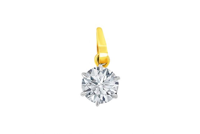 Elite Single CZ Diamond Gold Pendant