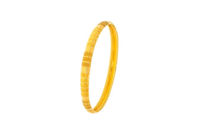 Glossy Textured Daily Wear Gold Bangle ( Set of 1)