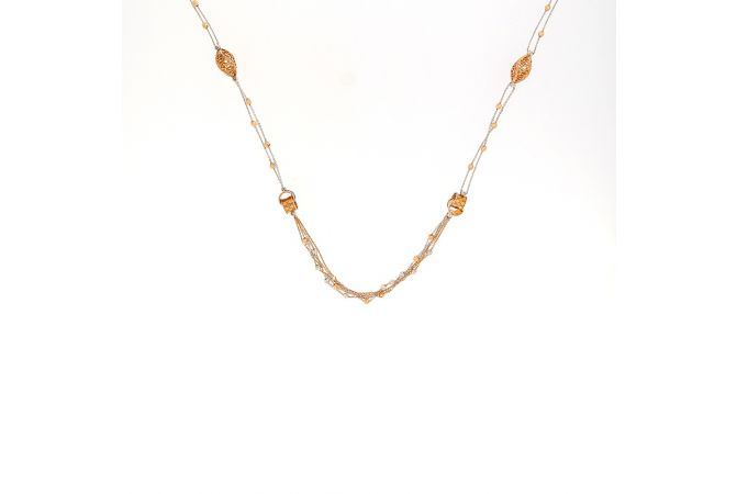 Glossy Finish Two Tone Multi Lines Linked Filigree Bead Ball Gold Chain-CH1366
