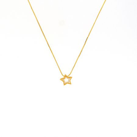 Glossy Finish Star Design Pendant Studded With CZ Gold Box Chain-CH1476