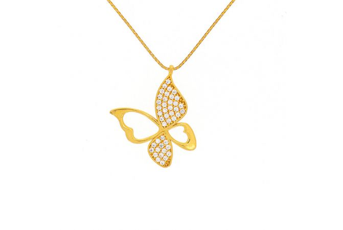 Glossy Finish Butterfly Design CZ Studded With Linked Synthetic Pearl Gold Chain