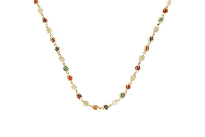 Glossy Finish Linked With Natural Navratna Stone Gold Chain-CHN15193