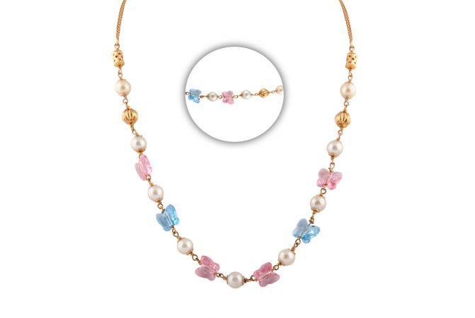 Glittering Synthetic Blue With Pink Stone Pearl Gold Chain - CHN351