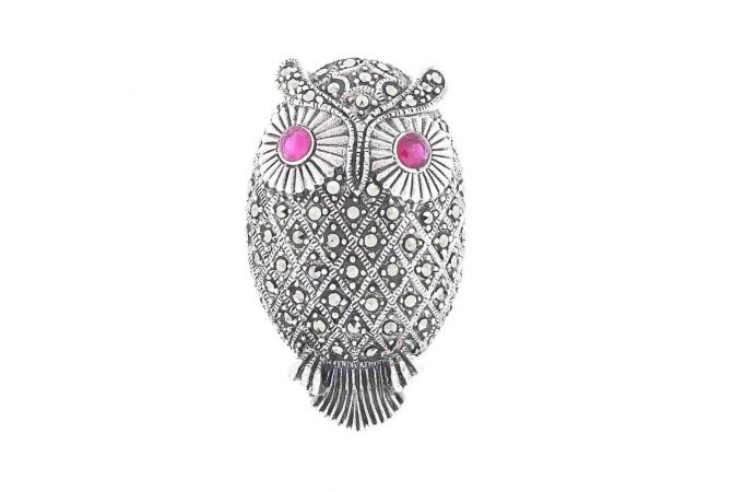 Glossy Oxidized Finish Owl Design Marcasite Stone Studded With Synthetic Ruby Silver Ring