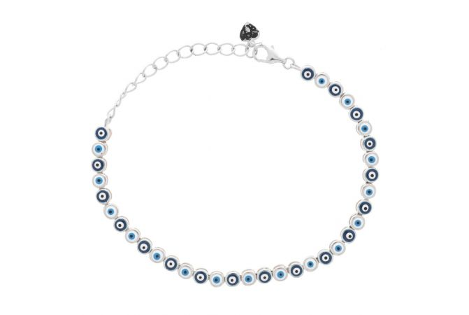 Glossy Finish Evil Eye With Enamel Adjustable Silver Bracelet