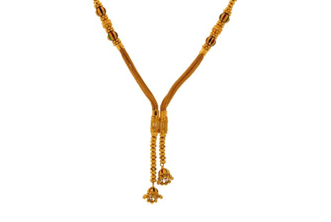 Traditional Jhumki Enamel Gold Chain Necklace