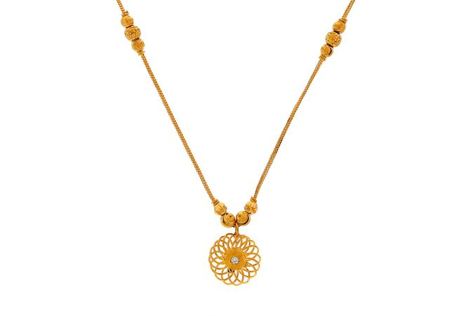 Blooming Floral Linked Gold Bead Ball Chain Pendant