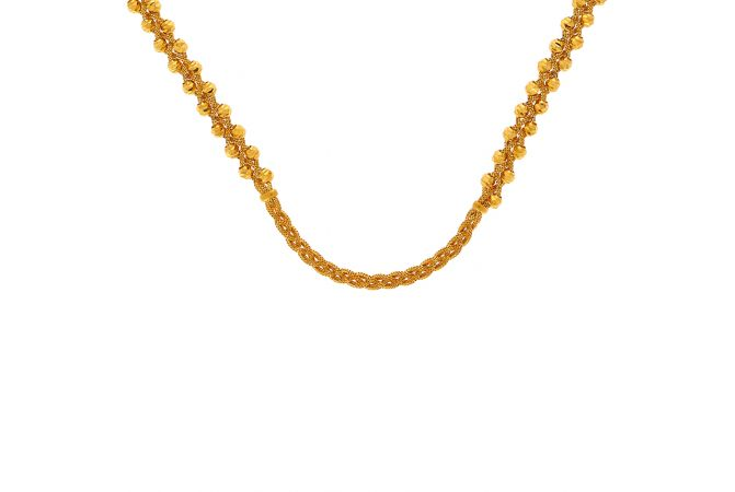 Traditional Knot Bead Gold Chain