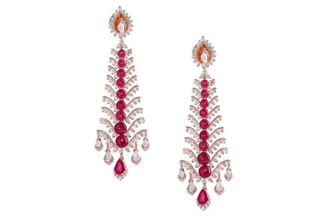 Dazzling Pressure Pave Set Long Dangler Drop Design Studded With Ruby Diamond Earrings