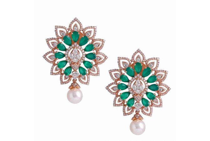 Dazzling Floral Design Studded With Synthetic Emerald Rose Gold Drop Diamond Earrings