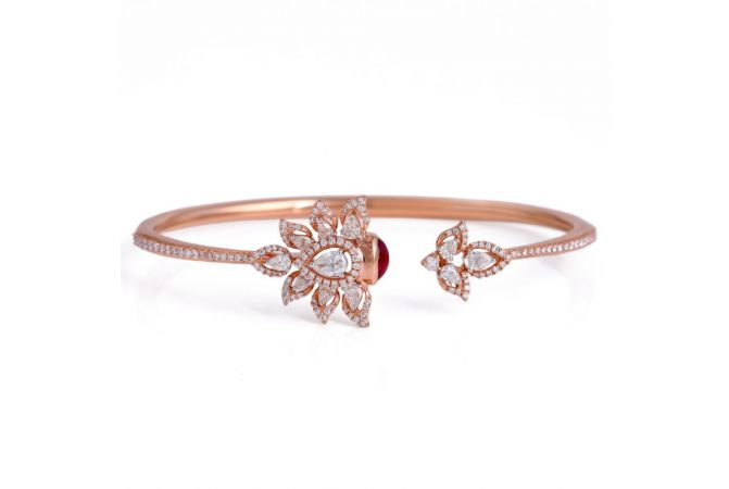 Sparkling Glossy Finish Floral Leafy Cuff Design With Natural Ruby Radiant Diamond Bracelet
