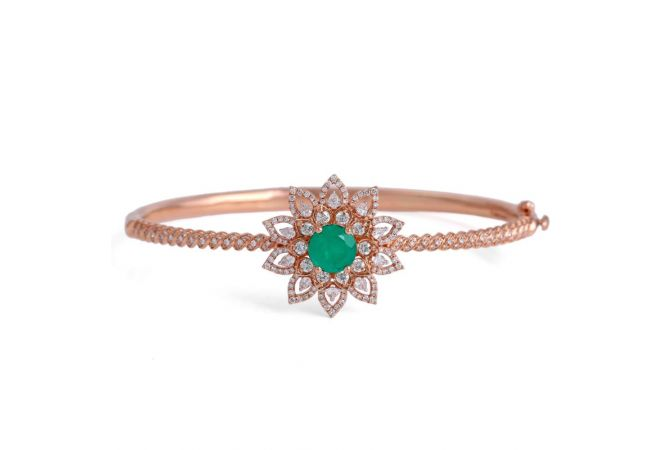 Elegant Sparkling Floral Design Studded With Synthetic Emerald Rose Gold Diamond Bracelet