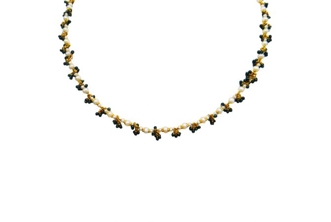 22kt Moti With Stone Beads Gold Chain - CYF-3279