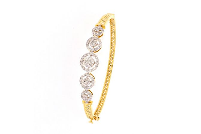 Glossy Satin Finish Pressure Pave Set Halo With Filligree Design Openable Diamond Bracelet-DBL15