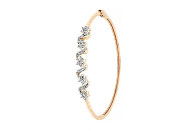 Sparkling Prong Set Floral Design Diamond Bracelet