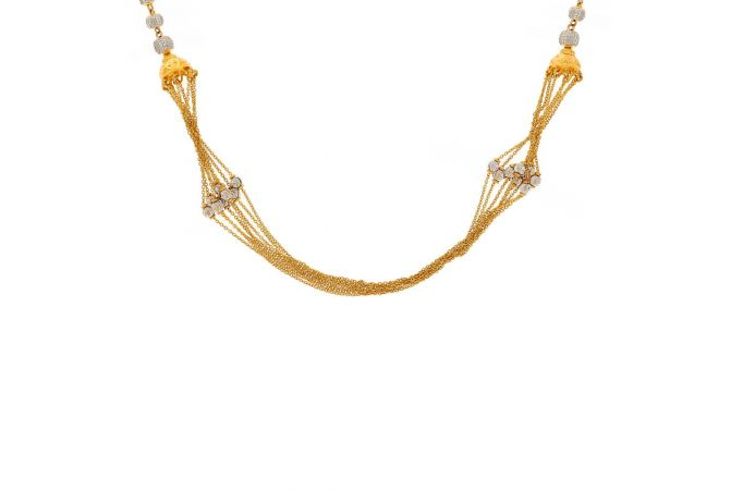 Multilayer Gold Twisted Chain With Rhodium Polish Beads Necklace