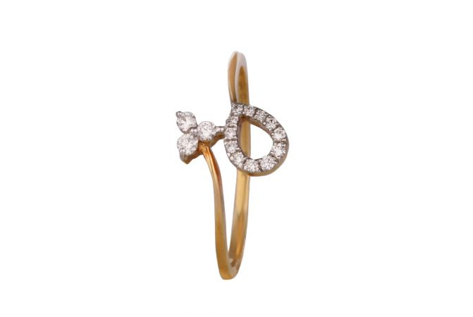 Glossy Finish Pave Set Drop With Three Diamond Twisted Ring-DFR1300237