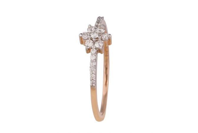 Sparkling Prong Pave Set Floral Diamond Band Ring-DFR1300642