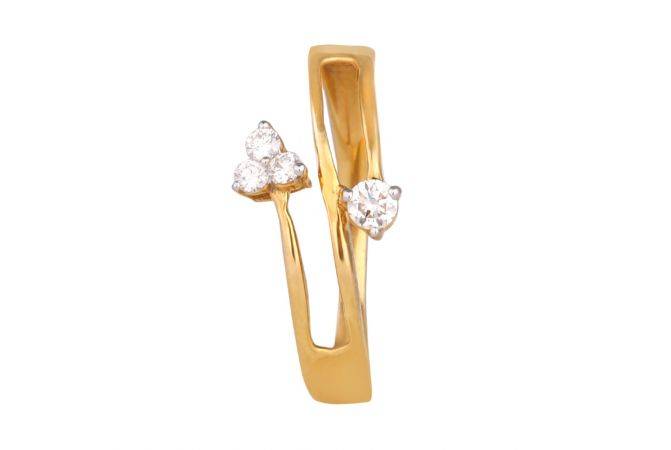 Glossy Finish Solitaire With Three Diamond Twisted Ring-DFR1300699