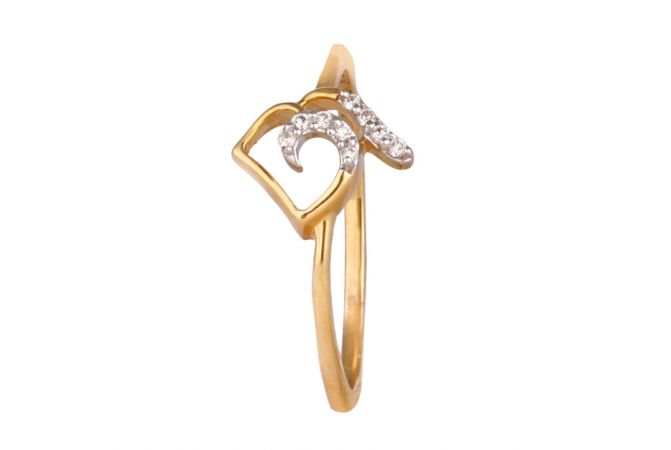 Sparkling Pave Set Curved Heart Diamond Ring-DFR1300732