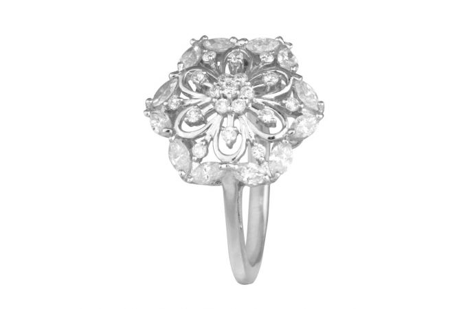 Elegant Round With Marquise Cut Floral Cocktaill Diamond Ring-DFR306363