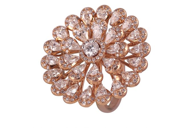 18kt Rose Gold Pear Cut With Round Brilliant Rings For Women-DFR53