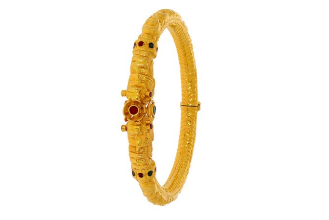 Glossy Finish Textured Synthetic Emerald With Ruby Openable Design Gold Bangle