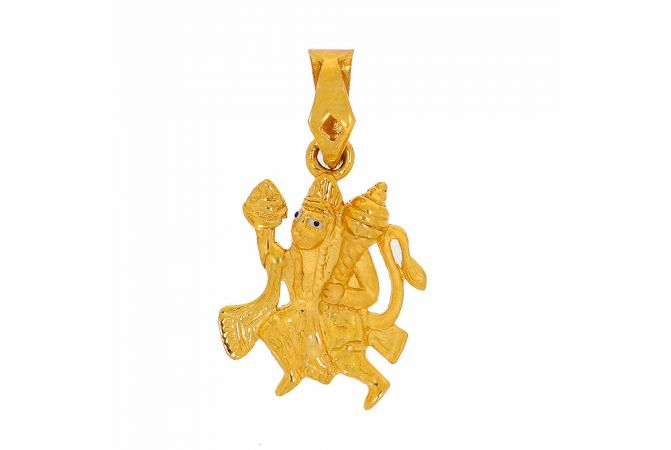 Glossy Finish Diamond Cut Enamel Lord Hanuman Gold Pendant