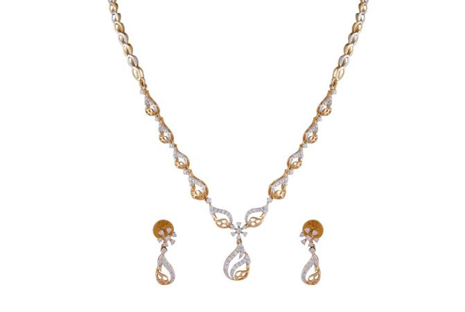 Sparkling Curved Drop Floral Diamond Necklace Set-DHS-150923-DHS-150922