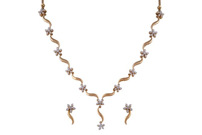 Sparkling Blossom Floral Diamond Necklace Set-DHS-211097-DHS-211098