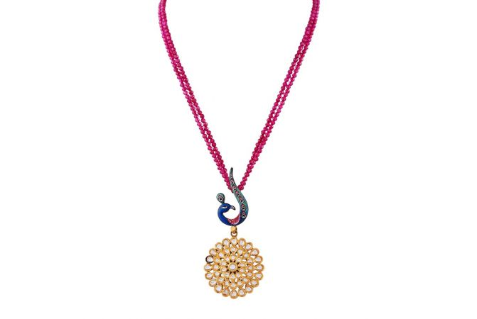 Glossy Finish Enamel Peacock Drop Floral Kundan Necklace -DHS-211358