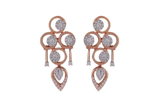Drop Circle Pressure Pave Set Cluster Diamond Earring-DHS-211556