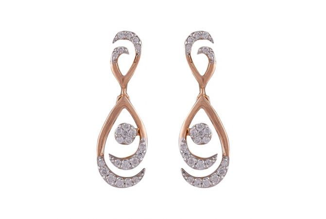 Drop Connected Cluster Pressure Set Sparkling Diamond Earring-DHS-211595