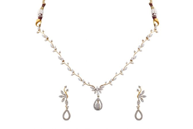 Elegant Sparkling Leafy Cluster Diamond  Necklace Set - DHS1