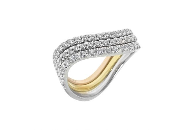 Sparkling Layerd Half Eternity Diamond Ring