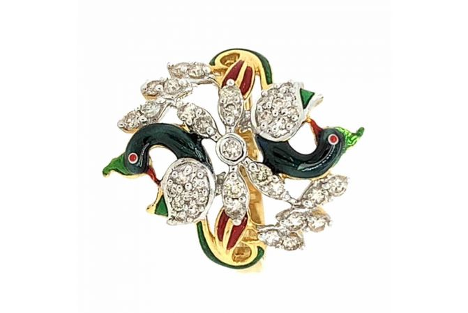 Glittering Pave Prong Set Enamel Peacock Design Diamond Ring
