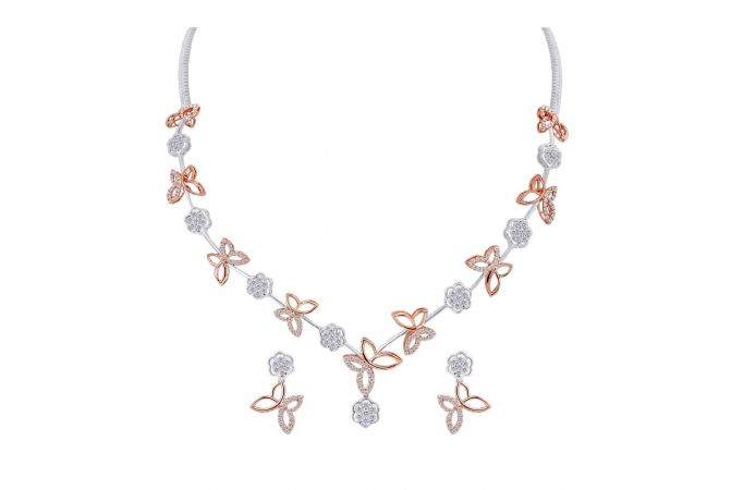 Dazzling Two Tone Prong Set Floral And Butter Fly Design Gold Diamond Necklace Set