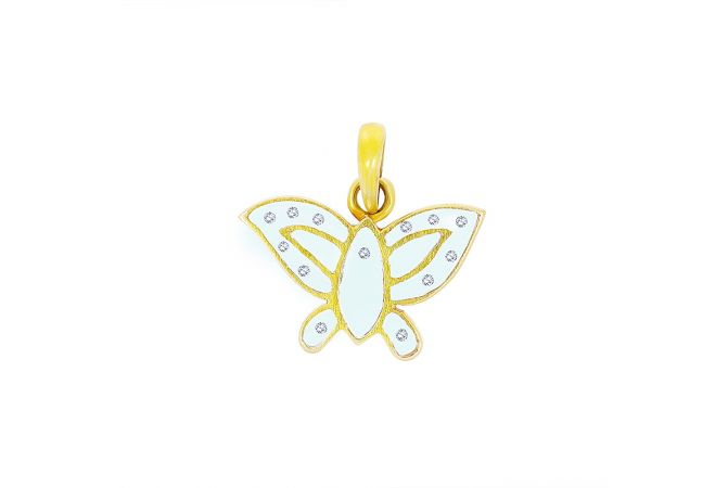Fluttering Butterfly Compressed Glass With Diamond Pendant