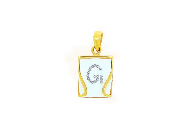 Delicate Compressed Glass Within Initail G Diamond Pendant