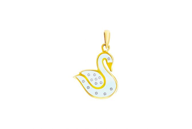 Elite Compressed Diamond Within Glass Swan Pendant