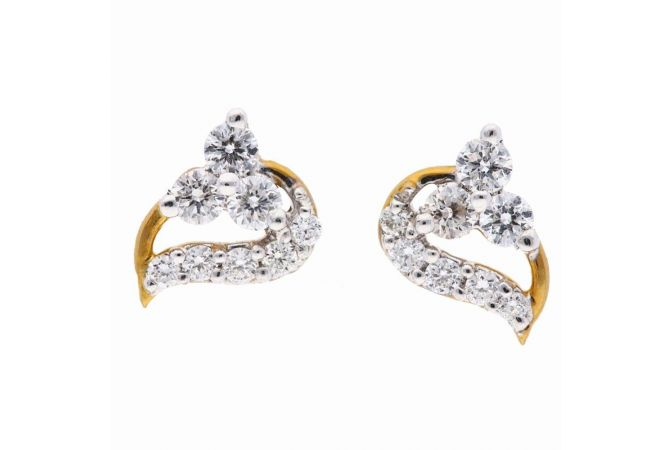 Elegant Sparkling Pave Prong Set Curved Diamond Earring-DT542