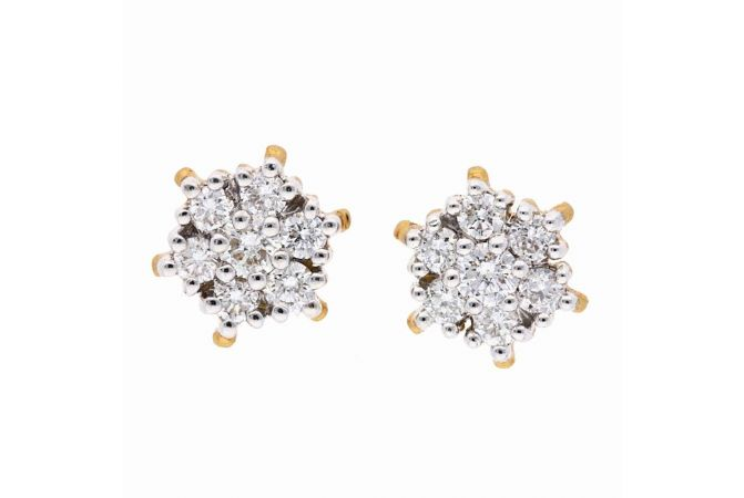 Prong Set Floral Sparkling Diamond Earring-DT759