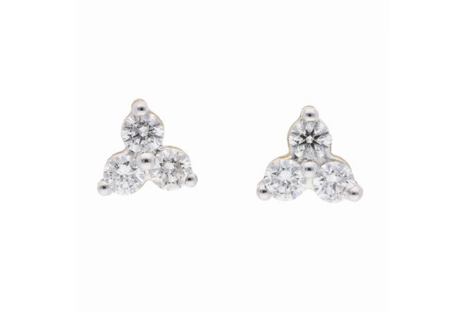 Sparkling Prong Set Three Diamond Studds Earring-DT761