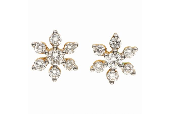 Glossy Glittering Prong Set Floral Diamond Earring-DT768