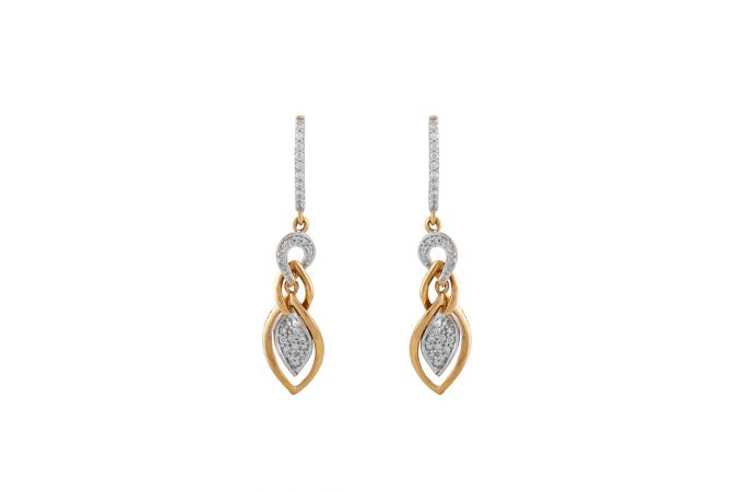 Glossy Sparkling Drop Cluster Diamond Bali Earring - DTP189