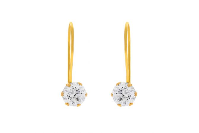 Elite Single Stone CZ Hook Earrings