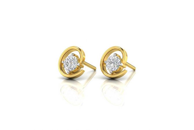 Glossy Finish Trendy Design Solitaire Stud Diamond Earrings