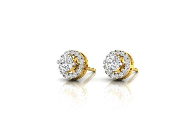 Sparkling Four Prong Stud With Side Diamonds Earrings