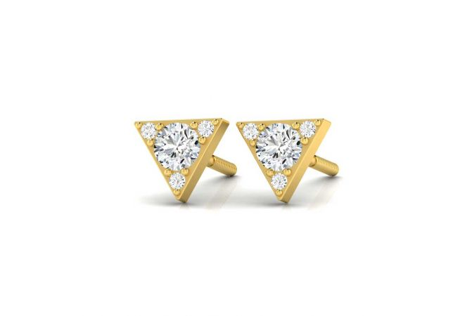 Trendy Triangle Design Solitaire Stud Earrings