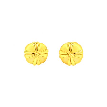 Elite Floral Button Stud Gold Earrings